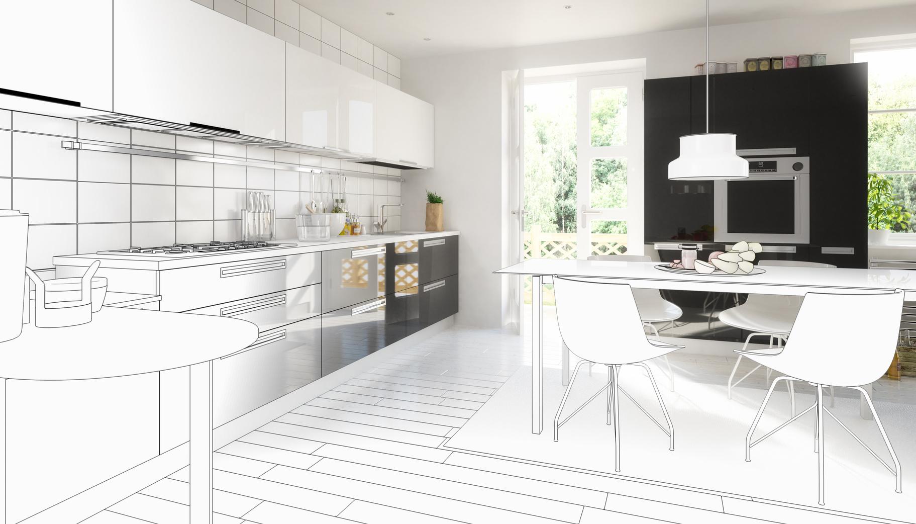 Beispiel einer 3D-Küchenskizze, Foto: M-plan-arsdigital, Fotolia