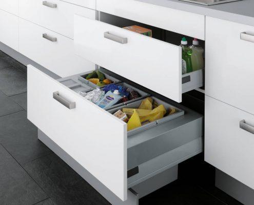 KüchenGalerie Follner; Aufbewahrungsbeispiel. Breite Schubladenauszüge. Bildquelle: Wellmann