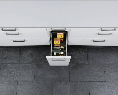 KüchenGalerie Follner; Aufbewahrungsbeispiel. Schmaler Auszug. Bildquelle: Wellmann